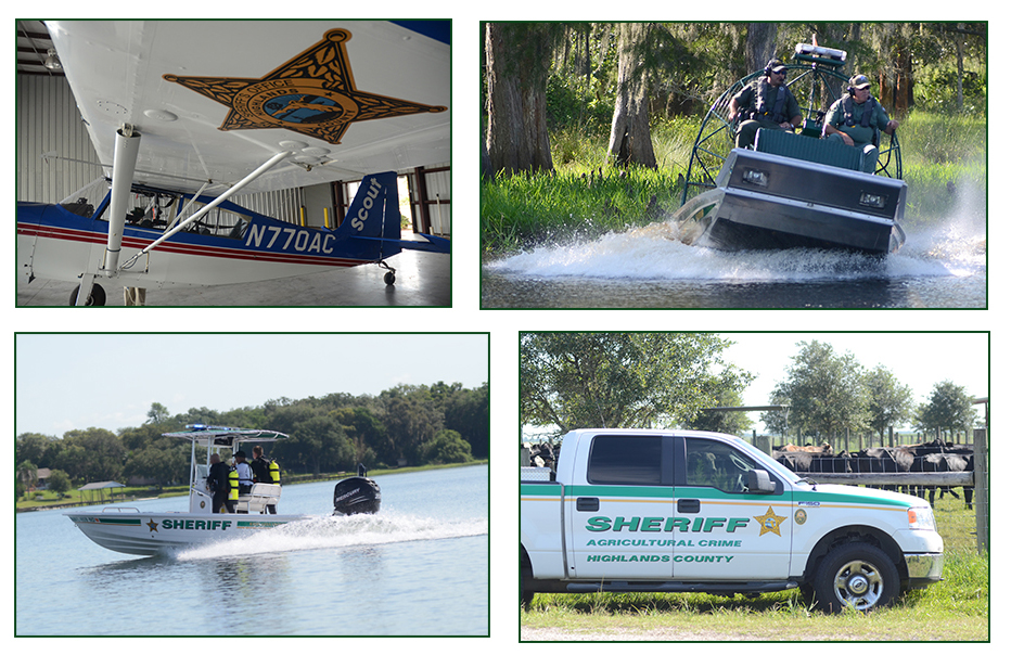 Airplane, airboat, dive team on boat and ag deputy